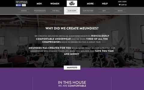 Screenshot of About Page meundies.com - MeUndies  - World's Most Comfortable Underwear, Socks, and T-Shirts - MeUndies - captured Oct. 26, 2015