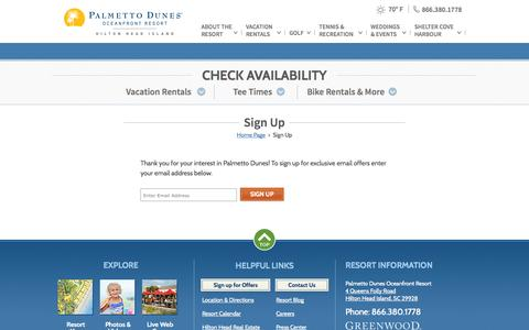 Screenshot of Signup Page palmettodunes.com - Hilton Head SC Resort Packages   Palmetto Dunes Resort - Sign Up   Resort Packages Hilton Head Island - captured Nov. 1, 2014