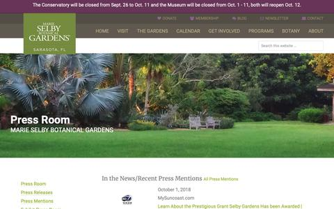 Screenshot of Press Page selby.org - Press Room - Marie Selby Botanical Gardens - captured Oct. 2, 2018