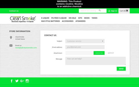 Screenshot of Contact Page cleansmoke.com - Contact us - captured Sept. 28, 2018