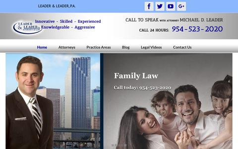 Screenshot of Home Page leader-law.com - Fort Lauderdale Insurance Claim Denial Lawyers, Fire, Water and Roof Damage - captured Nov. 3, 2018