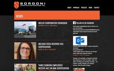 Screenshot of Press Page sordoni.com - News | Sordoni Construction - captured Oct. 6, 2014