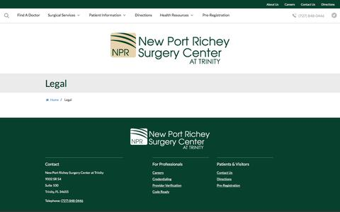 Screenshot of Privacy Page Terms Page nprsurgerycenter.com - Legal | New Port Richey Surgery Center at Trinity | Trinity, FL - captured Dec. 6, 2016
