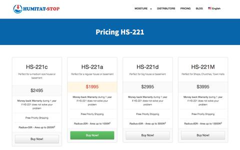 Screenshot of Pricing Page humitat-stop.com - Pricing HS-221. Moisture by capillarity — Humitat-Stop - captured July 24, 2018
