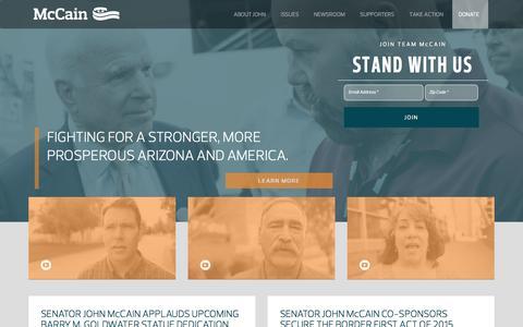Screenshot of Home Page johnmccain.com - Senator John McCain, Arizona - captured Jan. 25, 2015