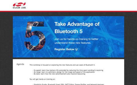 Screenshot of Landing Page silabs.com - Take Advantage of Bluetooth 5 | Silicon Labs - captured Sept. 13, 2017