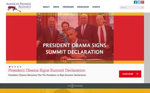 Screenshot of Home Page americaspromise.org - America's Promise - captured Sept. 24, 2014