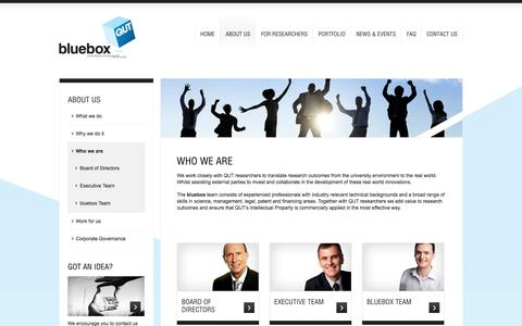 Screenshot of Team Page qutbluebox.com.au - Who we are | bluebox - Innovations for the Real World - captured Sept. 30, 2014
