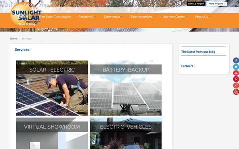 Screenshot of Services Page sunlightsolar.com - Services | Sunlight Solar - captured Oct. 20, 2018