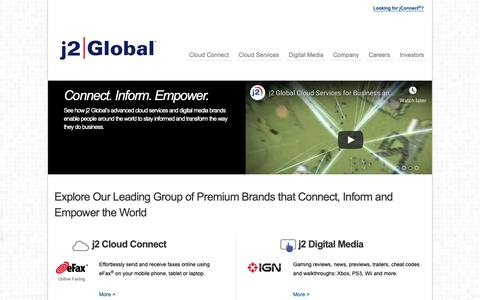 Screenshot of Home Page j2global.com - J2 Global Cloud Services, Unified Communications, Digital Media - captured Dec. 1, 2018