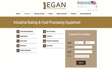 Screenshot of Products Page eganfoodtech.com - Industrial Baking & Food Processing Equipment | Egan Food Tech - captured Oct. 28, 2016