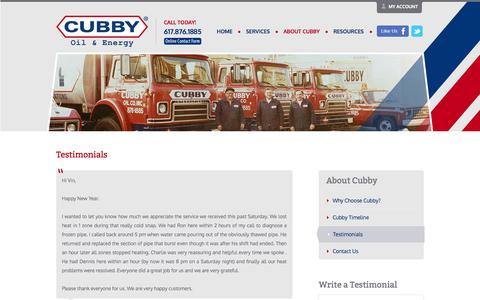 Screenshot of Testimonials Page cubbyoil.com - Cubby Oil - Testimonials - captured Oct. 27, 2014