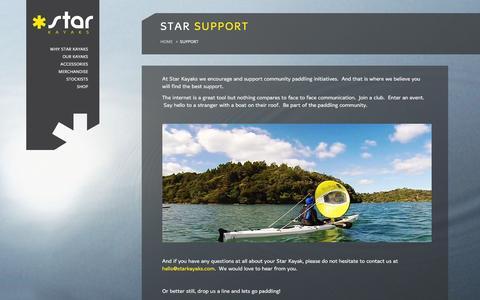 Screenshot of Support Page starkayaks.com - Support - Innovative Kayaks, Sea & River, NZ made   Star Kayaks - captured Jan. 12, 2016