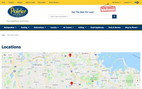 Screenshot of Contact Page Locations Page poiriersales.com - Contact Poirier Sales in Massachusetts - captured Sept. 28, 2018