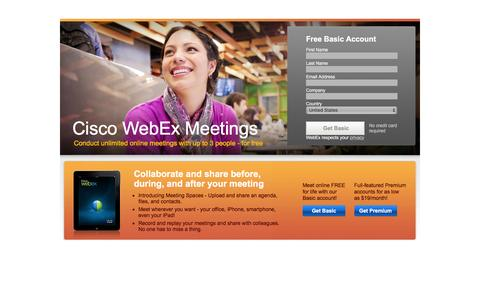 Screenshot of Landing Page webex.com - Sign Up for Cisco WebEx Meetings Basic or Premium | WebEx - captured Feb. 11, 2016
