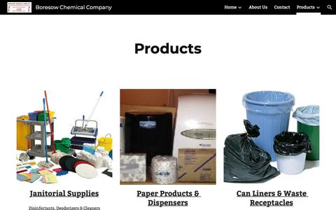 Screenshot of Products Page google.com - Boresow Chemical Company - Products - captured Nov. 13, 2018