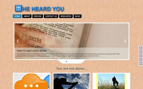 Screenshot of Home Page heheardyou.com - He Heard You? - Connecting With God - captured June 17, 2015