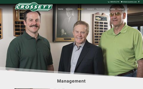 Screenshot of Team Page crossettinc.com - Management | Crossett Inc. - captured Nov. 5, 2018