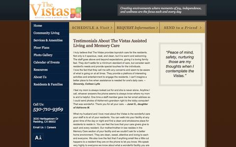 Screenshot of Testimonials Page vistasalf.com - Testimonials About The Vistas Assisted Living and Memory Care - captured March 30, 2016