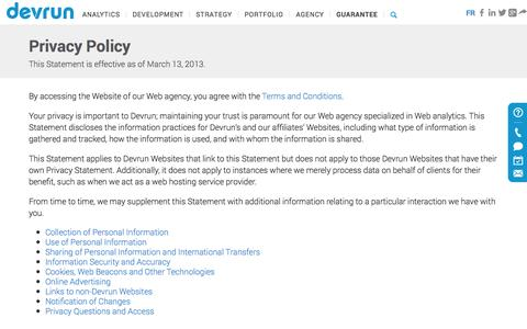 Screenshot of Privacy Page devrun.com - Privacy Policy of Our Web Agency | Devrun - captured Sept. 30, 2014
