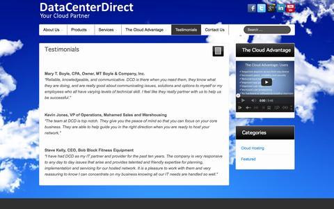 Screenshot of Testimonials Page datacenterdirect.com - Testimonials - DataCenterDirect - captured Sept. 30, 2014