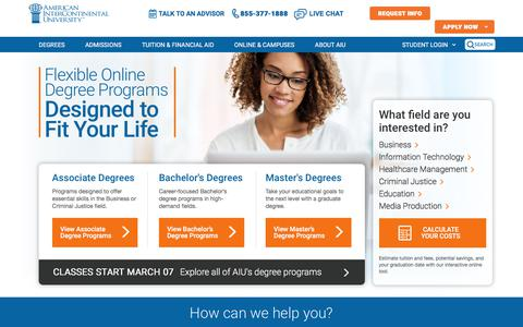 Screenshot of Home Page aiuniv.edu - AIU: Online College Degree Programs & Courses - captured Feb. 28, 2018