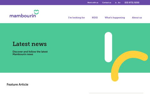 Screenshot of Press Page mambourin.org - NDIS Latest News - Disability Services News - captured Dec. 17, 2018