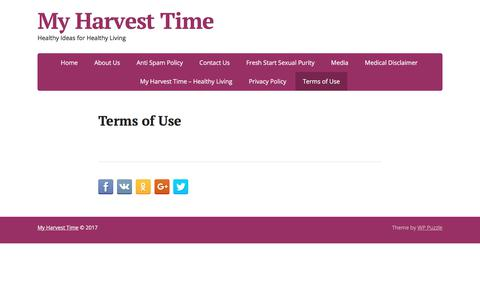 Screenshot of Terms Page myharvesttime.net - Terms of Use – My Harvest Time - captured July 19, 2017