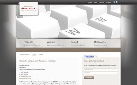 Screenshot of Contact Page houtrust.com - Contact opnemen met Ambiance Houtrust | Ambiance Houtrust - captured Oct. 4, 2014
