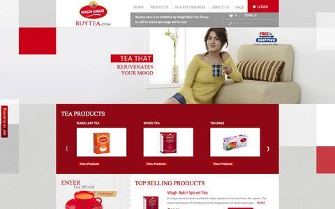 Screenshot of Home Page buytea.com - Buy Organic Green Tea Online – Black Teas – Waghbakri Tea Company - captured Sept. 23, 2014