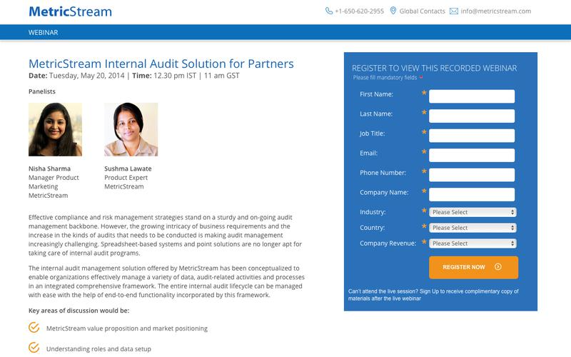 WEBINAR: MetricStream Internal Audit Solution for Partners