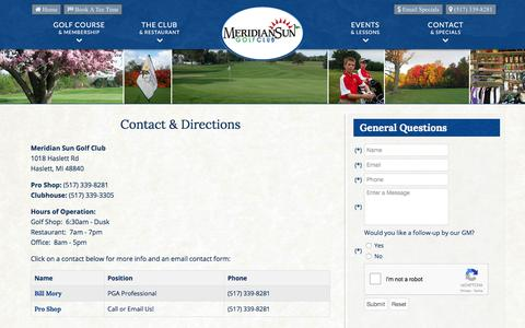 Screenshot of Contact Page Maps & Directions Page meridiansungc.com - Meridian Sun Golf Club | Haslett, MI | East Lansing Public Course - Contact & Directions - captured Oct. 18, 2017