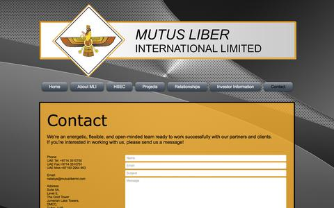 Screenshot of Contact Page mutusliberint.com - Contact - captured Oct. 22, 2017