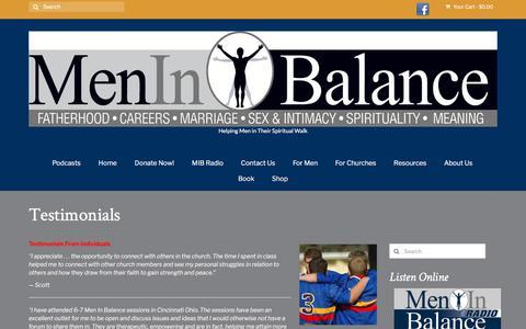 Screenshot of Testimonials Page meninbalance.org - Testimonials – Men in Balance - captured Sept. 20, 2018