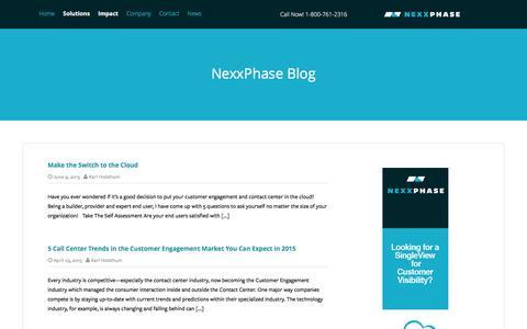 Screenshot of Blog nexxphase.com - NexxPhase Blog: The secrets to modern Customer Engagement - captured Jan. 11, 2016