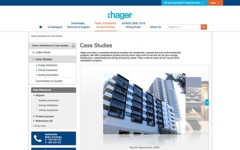 Screenshot of Case Studies Page hagerelectro.com.au - Case Studies - captured Sept. 26, 2018