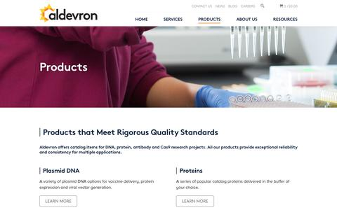 Screenshot of Products Page aldevron.com - Products | Aldevron - captured May 29, 2017