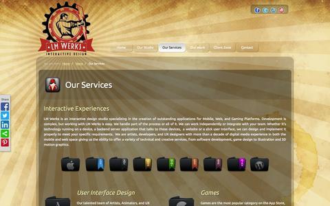 Screenshot of Services Page lmdesignwerks.com - Your game and UX design partner - captured Oct. 2, 2014