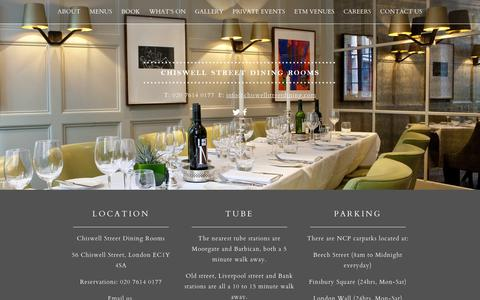 Screenshot of Contact Page chiswellstreetdining.com - Restaurants in The City | Contact Chiswell Street Dining Rooms - captured Jan. 27, 2016