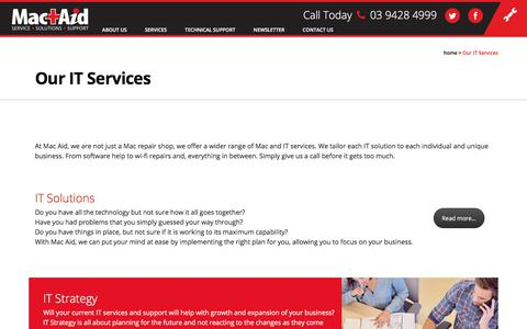 Screenshot of Services Page macaid.com.au - Mac Aid The Experts in Providing Excellent Business IT Services - captured July 25, 2018