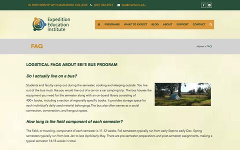Screenshot of FAQ Page getonthebus.org - FAQ - Expedition Education Institute - captured Nov. 14, 2016