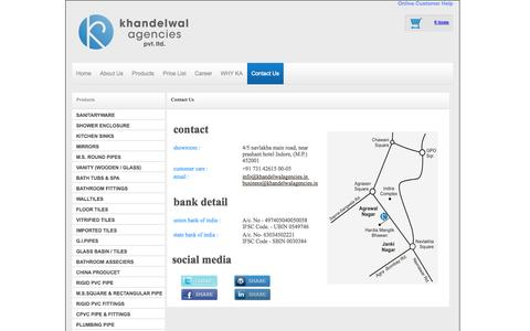 Screenshot of Contact Page khandelwalagencies.in - Welcome - captured Oct. 6, 2014