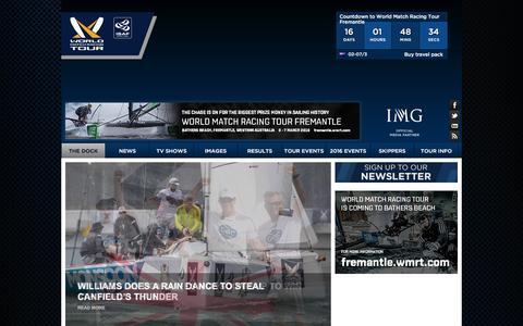 Screenshot of Home Page wmrt.com - World Match Racing Tour - The Dock - captured Feb. 15, 2016