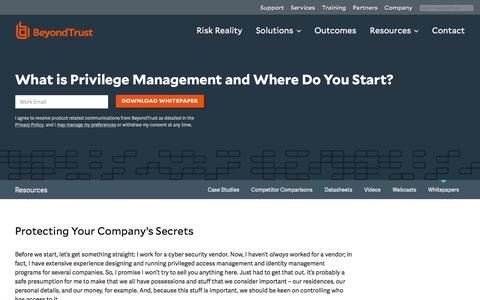 Screenshot of Team Page beyondtrust.com - What is Privilege Management and Where Do You Start? | BeyondTrust - captured Dec. 14, 2019