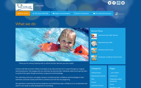 Screenshot of About Page swim-with-me.co.uk - What we do - Swim-With-Me - captured Feb. 28, 2016