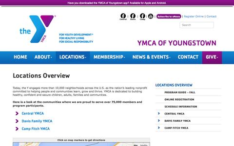 Screenshot of Locations Page youngstownymca.org - Locations Overview | Youngstown YMCA - captured Oct. 3, 2014