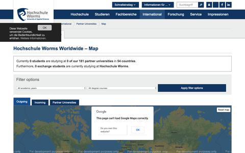 Screenshot of Maps & Directions Page hs-worms.de - Hochschule Worms: Hochschule Worms Worldwide – Map - captured Oct. 21, 2018