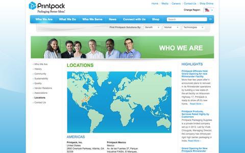 Screenshot of Locations Page printpack.com - Global Headquarters Locations Printpack Inc. - captured Sept. 19, 2014