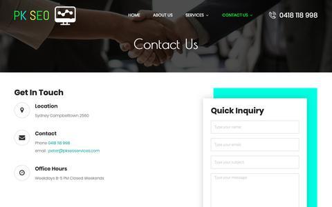 Screenshot of Contact Page pkseoservices.com.au - Contact Us » - captured Nov. 21, 2018