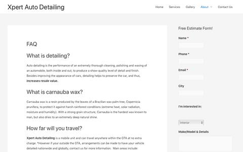 Screenshot of FAQ Page xpertautodetailing.ca - Xpert Auto Detailing: Frequently Asked Questions | Toronto | Mississauga | GTA | Xpert Auto Detailing - captured Nov. 7, 2019